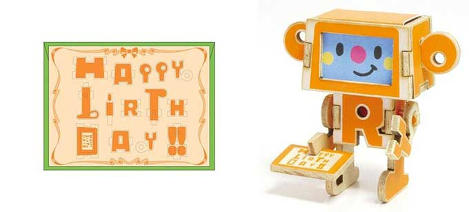 Wooden birthday card is also a robot puzzle